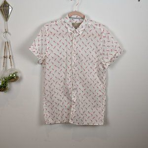 Zara men's Flamingo button down tee
